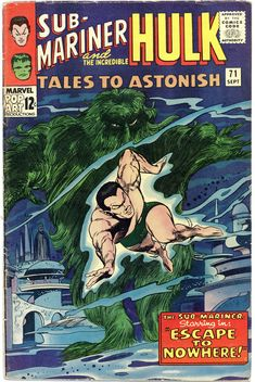 Tales To Astonish VG hulk by stan lee & jack kirby - namor the sub-mariner Hulk Comic, Marvel Comic Books, Comic Art, Marvel Characters, Silver Age Comics, Marvel Dc, Tales To Astonish, Sub Mariner, Classic Comics