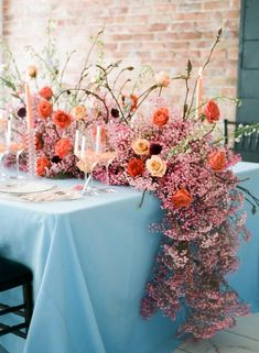 A Whimsical Fête with Pops of Coral Galore! A Whimsical Fête with Pops of Coral Galore! Reception Decorations, Wedding Centerpieces, Wedding Table, Wedding Bouquets, Wedding Reception, Flower Bouquets, Rustic Wedding, Garland Wedding, Reception Table