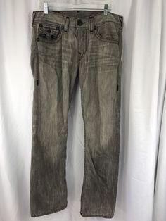 """True Religion Made in USA Gray Black Ricky Super T Mens Denim Jeans 34 x 34"""" #TrueReligion #ClassicStraightLeg"""