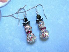 Rhinestone Snowman Earrings - Holiday Earrings Swarovski Crystals Rhinestones - $30.00 - Handmade Crafts by HappyEverything
