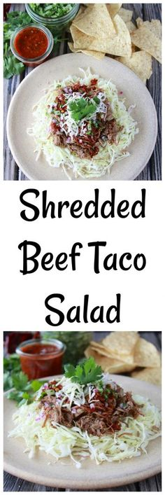 Shredded Beef Taco Salad is a filling lunch or dinner for any day of the week! Miss Nichole from Pure Clean Fitness is here to hang out with us. Winter Salad Recipes, Easy Salads, Healthy Salad Recipes, Savory Salads, Beef Recipes, Mexican Food Recipes, Ethnic Recipes, Mexican Dishes, Sweets Recipes