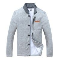Wish | Men's fashion Slim version of the single buckle solid long-sleeved sweater collar  jacket