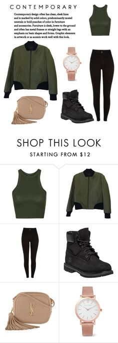 """green nudie"" by cutesupreme ❤ liked on Polyvore featuring Topshop, rag & bone, Timberland, Yves Saint Laurent and Larsson & Jennings"