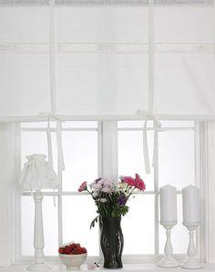 Details Zu ENGEL Raffrollo 100x120cm White Living Dekogardine Raffgardine  Landhaus Shabby
