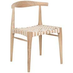 Baudart Outdoor White Cowhide Teak Side Chair