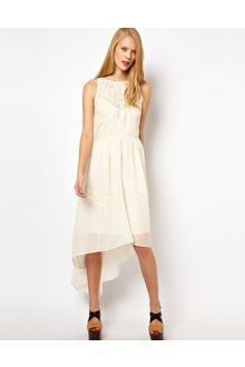 Asos Midi Dress with High Low Hem and Lace Insert - Lyst