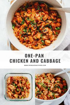 Chicken and cabbage is a one pan meal that is healthy and quick. Use it for dinner or meal prep four lunches in under 30 minutes. #chickenrecipe #cabbagerecipe #onepanchickenrecipe