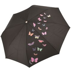 Butterfly Folding Umbrella from Rainbow of Milan - Black - Brolliesgalore