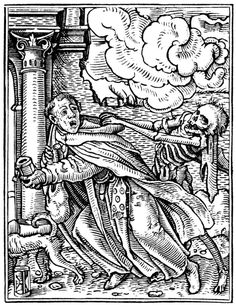 Artist: Holbein d. J., Hans, Title: »The Dance of Death« 23, The Mendicant Friar, Date: 1524-26