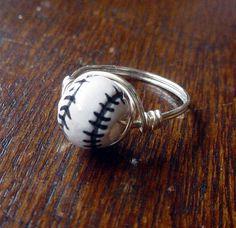 Baseball Wire Wrapped Ring, ceramic bead, custom size. $10.00, via Etsy.
