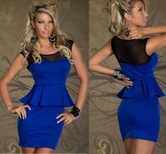 Cheap Clubwears Sheath Dresses - Best Sleeveless Patchwork Gauze Sheath Peplum Mini Club Dress Online with $16.99/Piece   DHgate