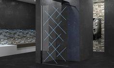 paroi de douche fixe au design lumineux Novellini Kuadra H LED