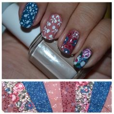 I freehanded this to copy my quilted pillowcase. #nails #nailart