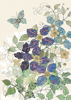 BugArt Collage ~ Blue Clematis Butterfly. Collage *NEW* Designed by Jane Crowther.