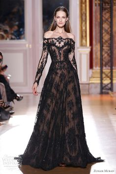 Zuhair Murad couture gown Off-shoulder black beaded long sleeve gown with nude base