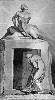 William Blake's Illustrations to Robert Blair's The Grave,The Sanity of William Blake,page 8.The poem is now best known for the illustrations created by William Blake following a commission from Robert Cromek.Blake's designs were engraved by Luigi Schiavonetti, and published in 1808.