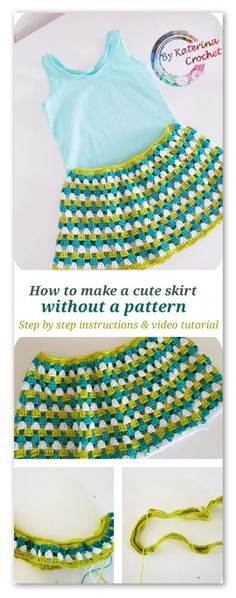 Crochet for beginners: How to make a skirt without following a pattern. Step by step instructions and video tutorial.