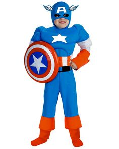 Captain America Boy's Costume - Captain America Deluxe Muscle Child Costume The Marvel Comic Patriotic Hero! Costume includes: Light Blue, White and Red bodysuit with . Captain America Halloween Costume, Superhero Halloween Costumes, Avengers Costumes, Boy Costumes, Halloween Kids, Adult Costumes, Costume Ideas, Children Costumes, Pirate Costumes