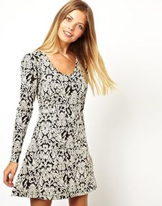 cba01cf482 Image 1 of Vero Moda Jacquard Mono Print Sweat Skater Dress Cold Weather  Dresses