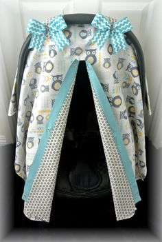 car seat canopy car seat cover owls blue teal by JaydenandOlivia, $37.99