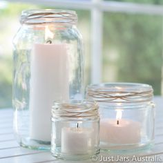 Candles in rustic jars