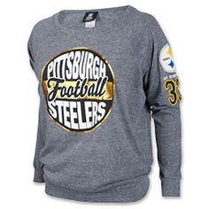 New Era Pittsburgh Steelers NFL Tri-Blend Womens Long Sleeve Scoopneck Shirt  Womens Steelers Apparel 538950750