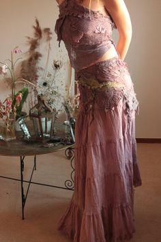 purple haze  long skirt  Fae nature spirit by FractalWings on Etsy, $189.00