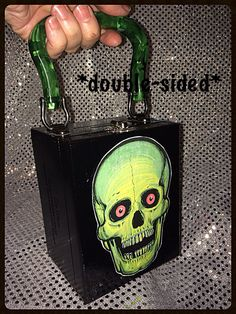 Green Skull double sided Cigar Box purse by PhantomBoxPurses, $30.00