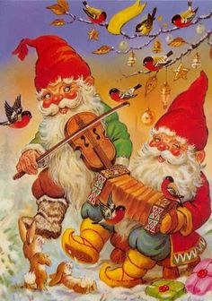 CHRISTMAS GREETING postcard of GNOMES PLAYING MUSIC TO BULLFINCH BIRDS accordion