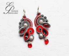 Soutache Earrings, Jewelries, Shibori, Jewelery, Beading, Ornament, Embroidery, Handmade, Accessories