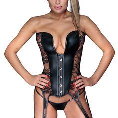 ed8e118e98 Steampunk Lace Overbust Corset Sexy Gothic Women Corset Top Bustier Black  Wet look Vinyl Leather Lingerie Corsets Plus Size 6XL