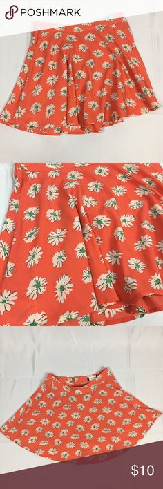 Adorable Fifty Street Pink Floral Skater Skirt Ike-new condition. Pink skater skirt with white and green Floral pattern. Zip up back. 100% polyester. Size medium. 28 inch waist and 16 inches long Skirts Circle & Skater