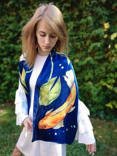 "Hand painted Silk scarf ""Gold Fish"" by KseniaSilkArt on Etsy Painted Silk, Hand Painted, French Silk, Goldfish, Silk Scarves, Silk Satin, Your Style, Hands, Pure Products"