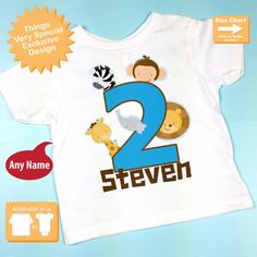 a7780f2a4b2 Two Year Old Jungle Birthday Shirt with Name