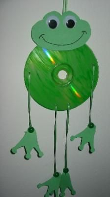 cds recycled crafts, recycled cd crafts work, recycled cd crafts for kids Frog Crafts, Preschool Crafts, Crafts For Kids, Arts And Crafts, Recycled Cd Crafts, Old Cd Crafts, Projects For Kids, Diy For Kids, House Projects