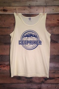Deep Rivers Outfitters logo tank: navy on banana