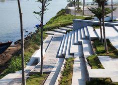 waterside park by MIA Design Studio runs alongside a lake in Vietnam Landscape Plaza, Landscape Stairs, Landscape And Urbanism, Modern Landscape Design, Landscape Architecture Design, Modern Landscaping, Urban Landscape, Ancient Architecture, Sustainable Architecture