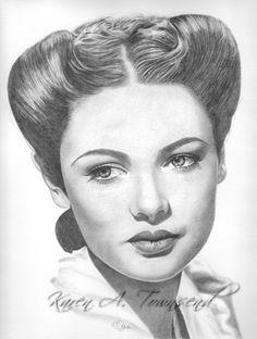Gene Tierney Original drawing