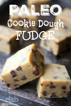 This chewy chocolate chip cookie dough fudge has just a hint of toffee flavor due to the browned butter. So easy and so good! #paleo #glutenfree #dessert