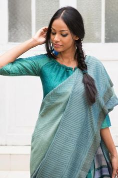 This Green shade saree is good for a day or evening special occasion. Design weaves in the body and fall makes the saree look elegant and unique. Trendy Sarees, Stylish Sarees, Simple Sarees, Blouse Styles, Blouse Designs, Saree Styles, Blouse Patterns, South Indian Bride Saree, Indian Sarees