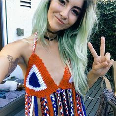 Crochet top and mint hair x