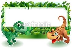 #Cute #Baby #Dinosaurs with #Bamboo #Panel on the #Jungle! © #Bluedarkat - on #Fotolia!