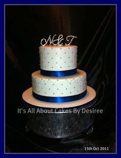 silver wedding cakes   Blue & Silver Wedding Cake