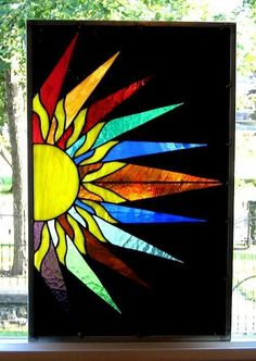 Image detail for -Art: Stained Glass Window Panel Sunburst by Artist Phil Petersen Stained Glass Quilt, Faux Stained Glass, Stained Glass Lamps, Stained Glass Designs, Stained Glass Panels, Stained Glass Projects, Stained Glass Patterns, Fused Glass, Mosaic Art
