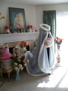 """RESERVED Custom Listing For """"munchingal79"""" Sweeping Train Powder blue / Silver Satin Bridal Cape with fur trim Handmade in USA by capeandcrown13 on Etsy"""