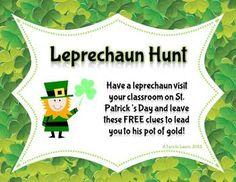 Leprechaun Hunt Clues! (Freebie! In Color & Black and White)