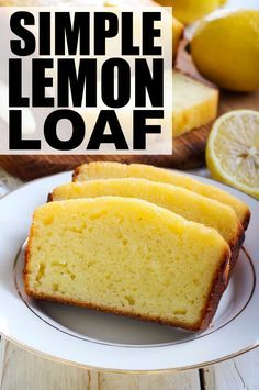 If you're looking for dessert recipes that don't take a ton of time to prepare and bake, and that aren't heavy on the chocolate and sugar, this simple lemon loaf has your name written all over it. It's a timeless classic and tastes great with a bit of mel Brownie Desserts, Easy Desserts, Delicious Desserts, Yummy Food, Healthy Lemon Desserts, Simple Dessert Recipes, Lemon Dessert Recipes, Dessert Simple, Cold Desserts