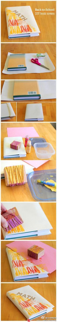 back to school : DIY Book Cover.my favorite thing about school was covering my text books with grocery bags then decorating! Fun Crafts, Diy And Crafts, Paper Crafts, Craft Tutorials, Diy Projects, School Projects, Design Projects, School Ideas, School Book Covers