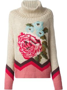 TWIN SET Floral Knit Sweater