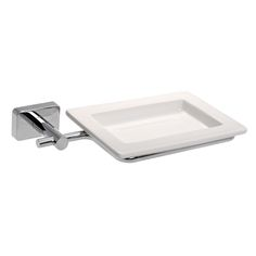 Soap Dish, Gedy 6611-13, Wall Mounted Square Porcelain Soap Dish With Chrome Mounting 6611-13